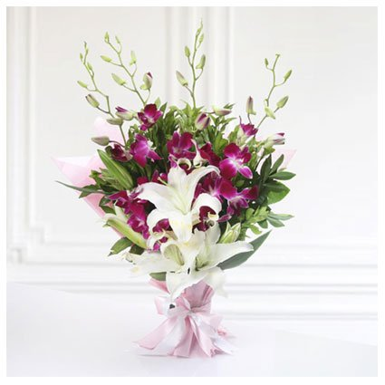 Bouquet of Lilies and Orchids