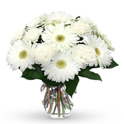White Gerbera and Carnation Bouquet