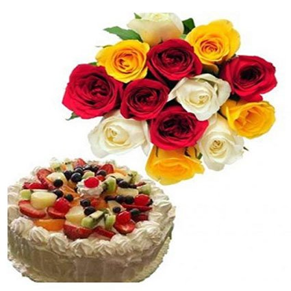 Fruit Cake With Mix Flowers
