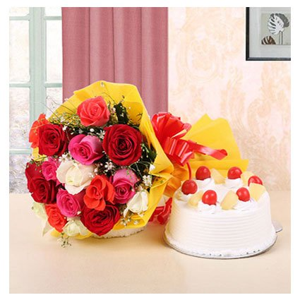 Mix Bouquet with Pineapple Cake