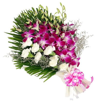 Orchid and Carnation Bouquet
