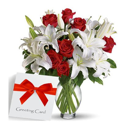 Message with Fresh Flowers in a Vase