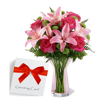 Message with Mix Flowers in a Vase