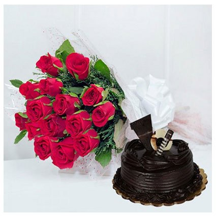 Red Bunch with Chocolate Cake