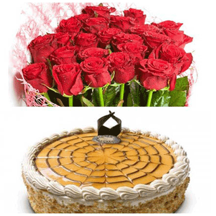 Red Roses with Butter Scotch